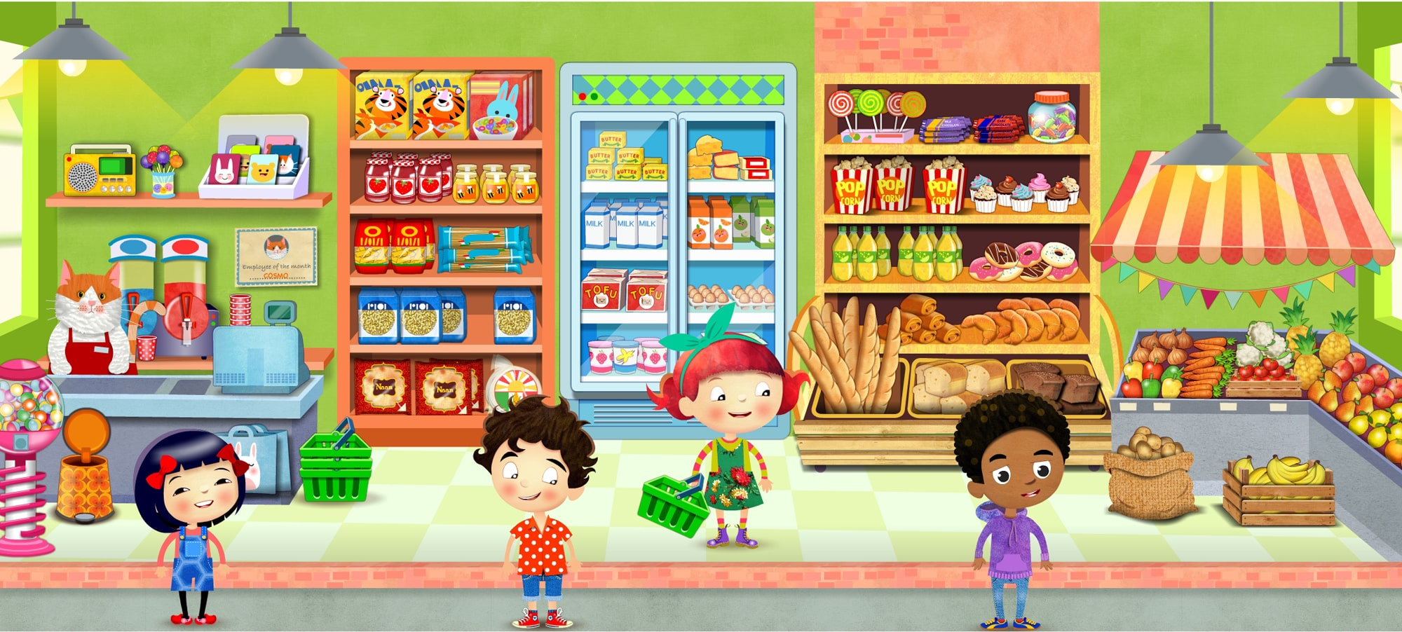Kids shopping app illustration