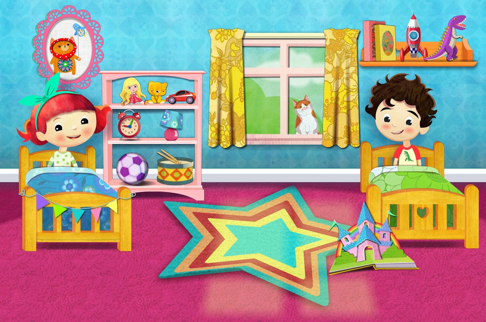 Kids in their bedroom app illustration