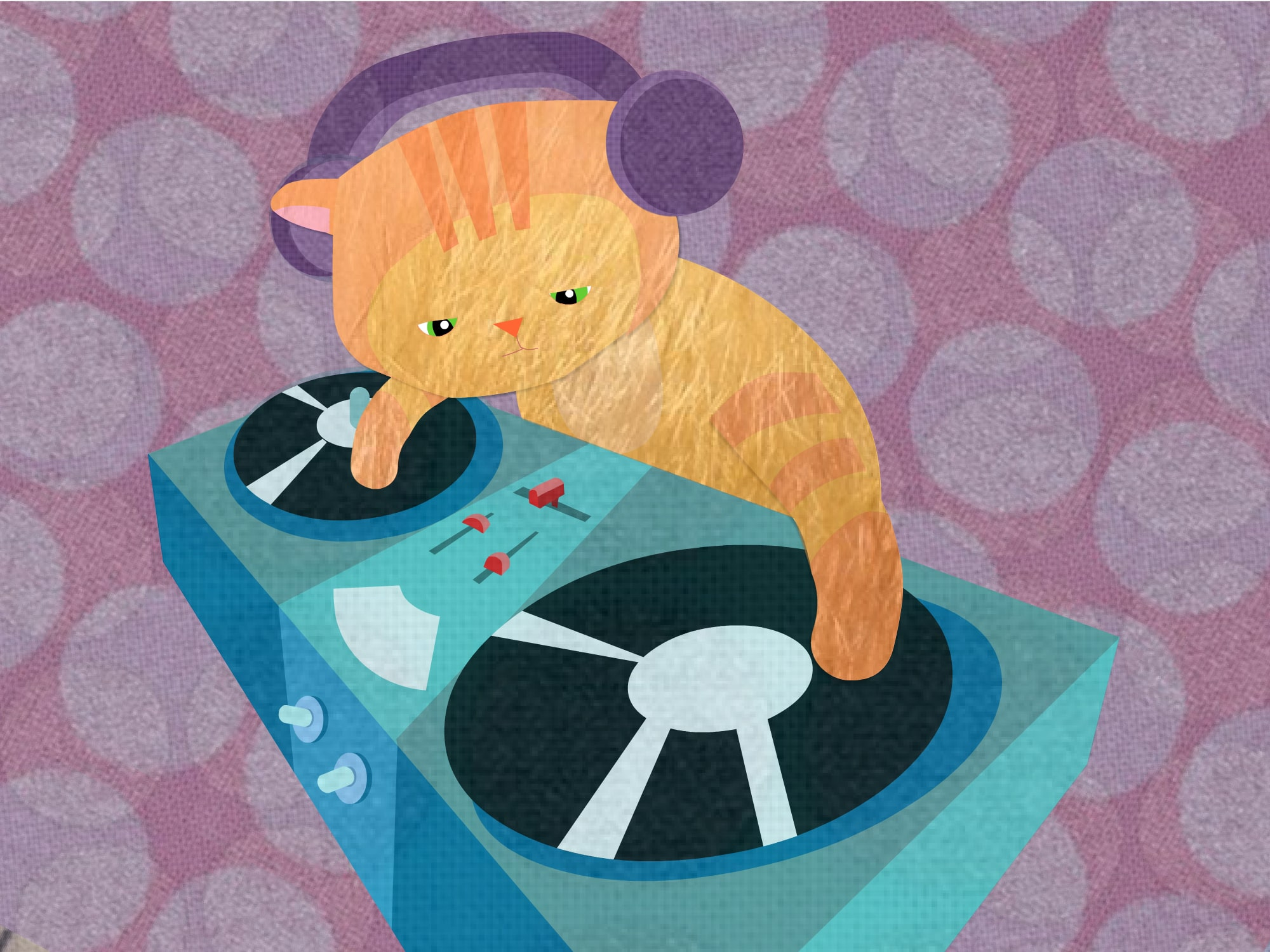 DJ cat illustration - Luella Jane