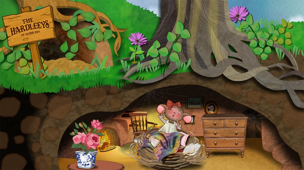 Florence mouse in her bedroom