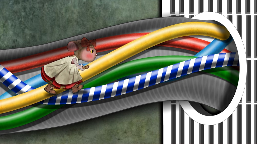 Mouse in the wires illustration