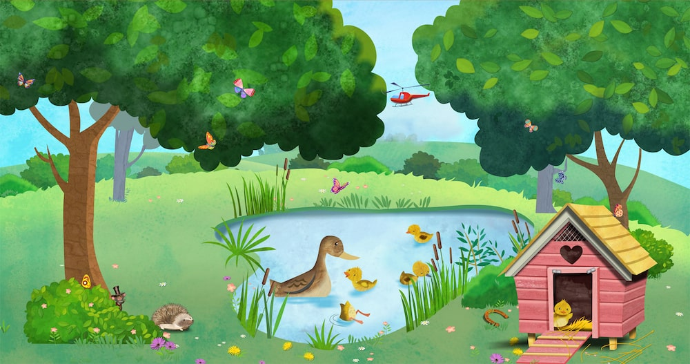 Ducks in pond corridor artwork