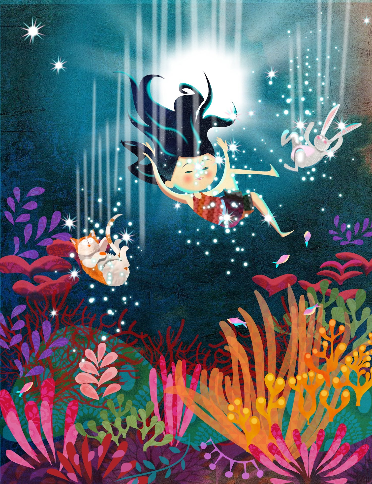 Cat girl and rabbit underwater