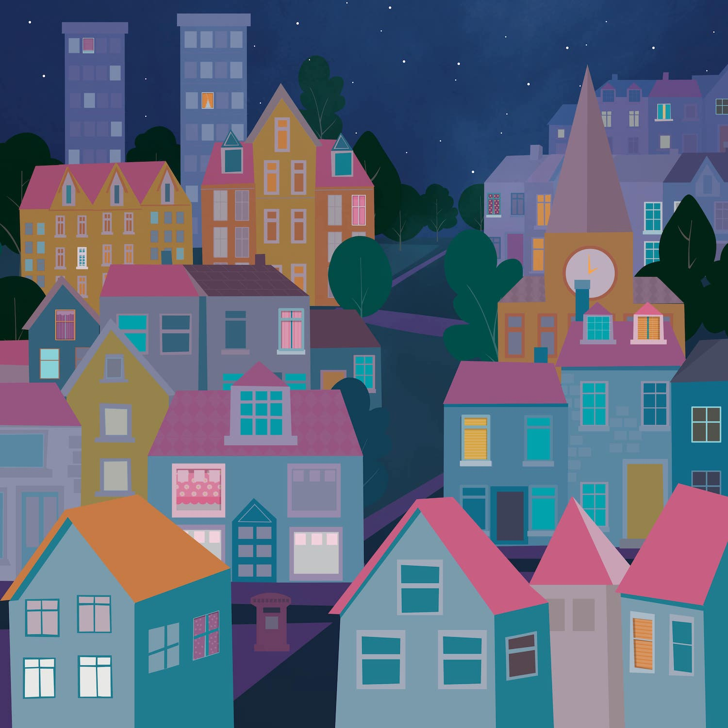 Cityscape night illustration - Luella Jane