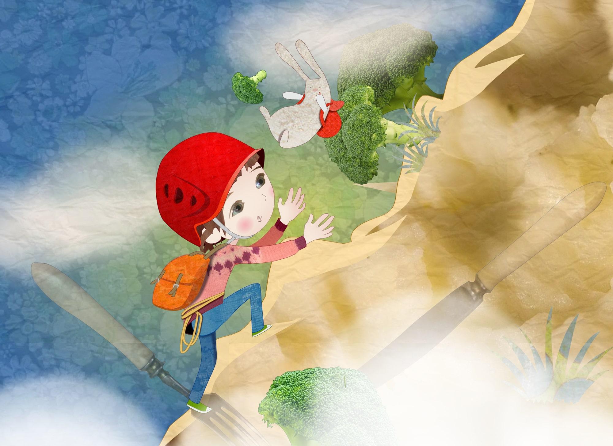 Girl and rabbit on mountain - Illustration - Luella Jane