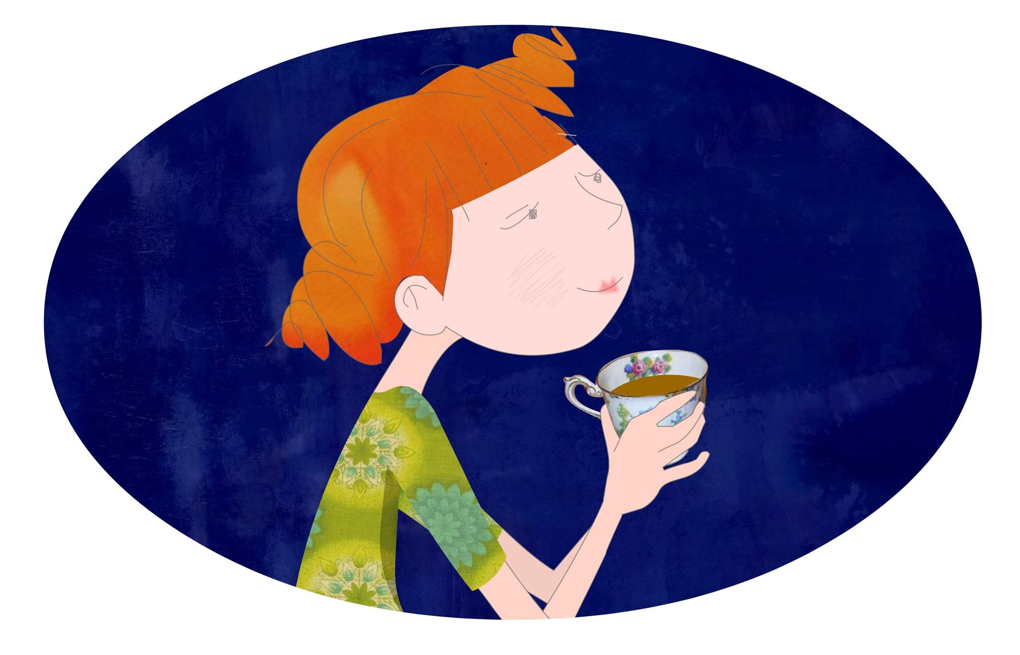Girl drinking tea - Illustration - Luella Jane