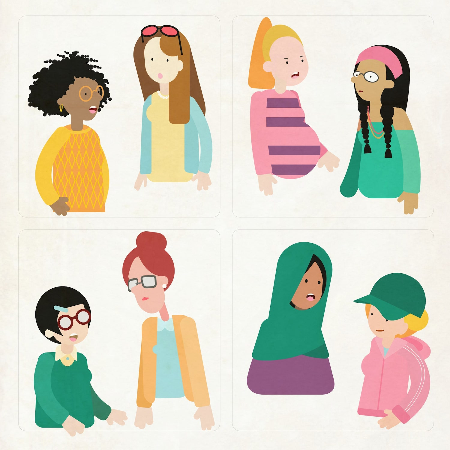 Ladies chatting NCT illustration - Luella Jane